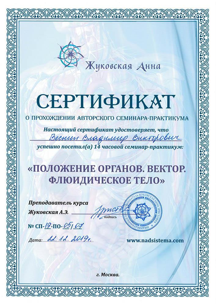 Сертификат о прохождении семинара: Положение органов. Вектор. Флюидическое тело