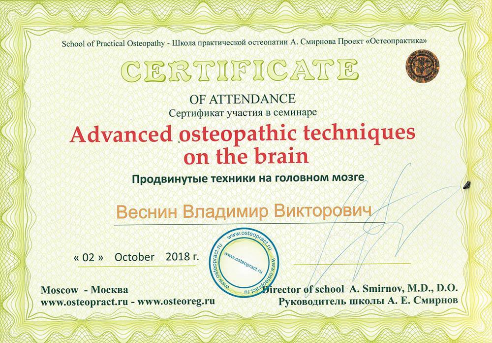 Сертифікат учасника семінару Просунуті техніки на головному мозку