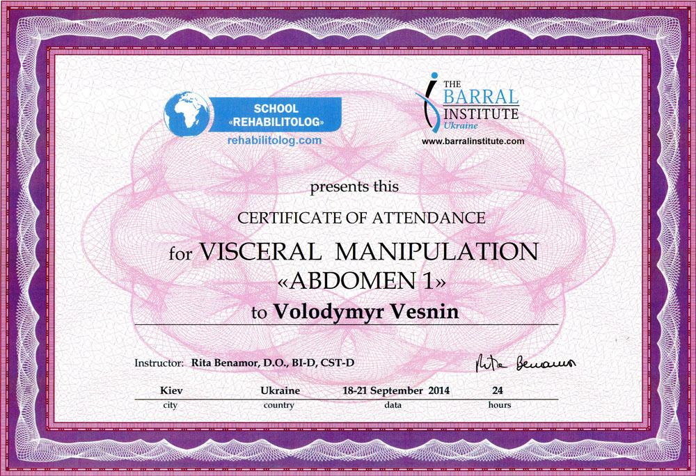 Сертифікат Вісцеральні маніпуляції
