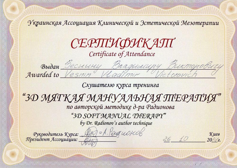 Сертифікат 3D м'яка мануальна терапія