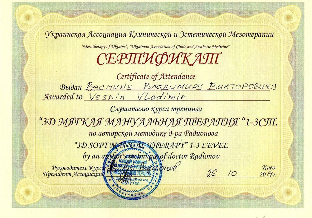 Сертификат 3D мягкая мануальная терапия 1-3 уровень