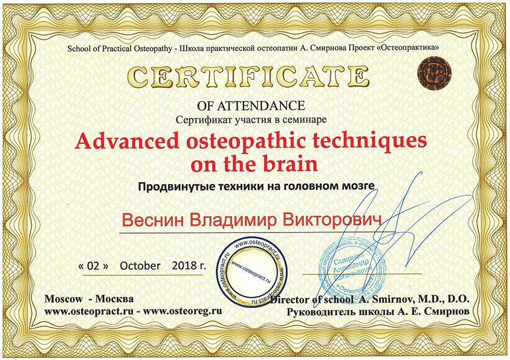 Сертификат Продвинутые остеопатические техники на головном мозге