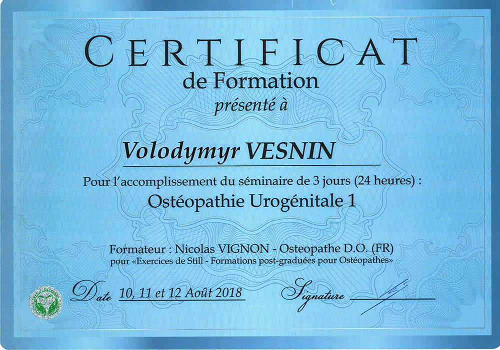 Сертификат Урогенитальная остеопатия 1