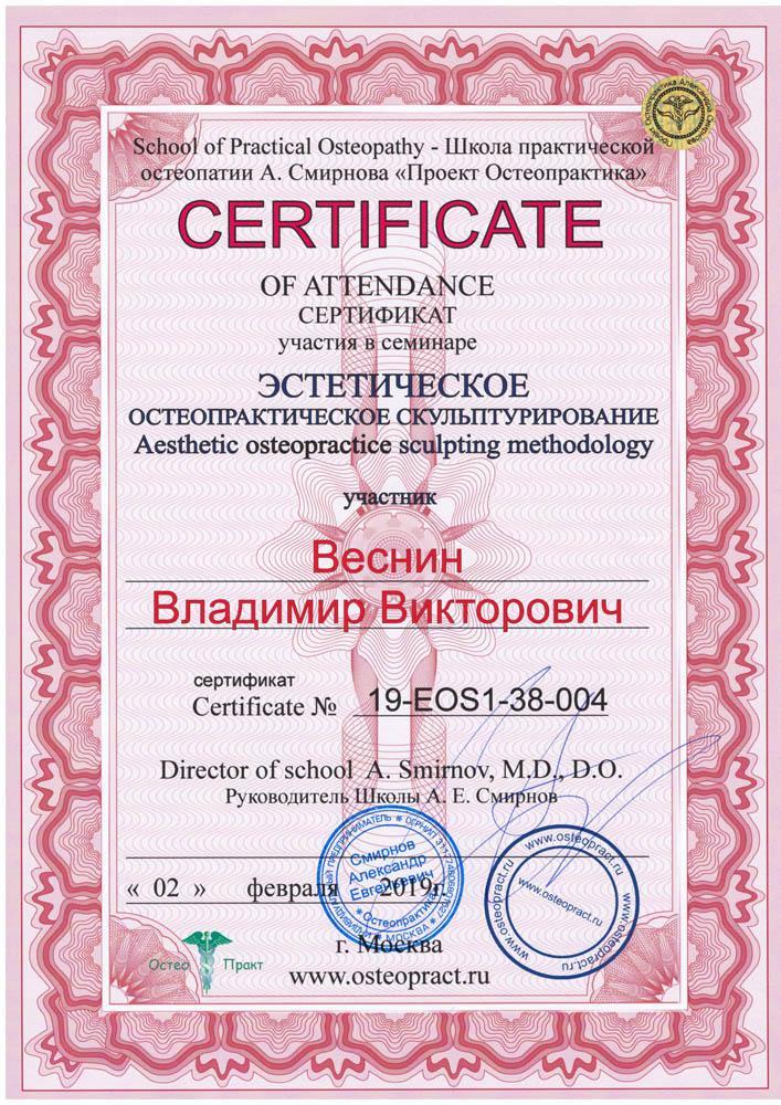 Сертификат Эстетическое остеопрактическое скульптурирование