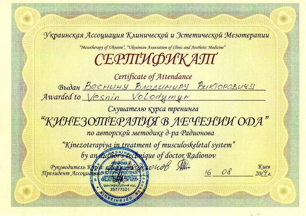 Сертификат Кинезиотерапия в лечении ОДА