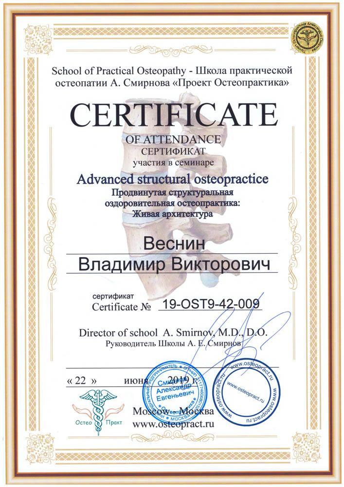 Сертификат Продвинутая структуральная оздоровительная остеопрактика: живая архитектура
