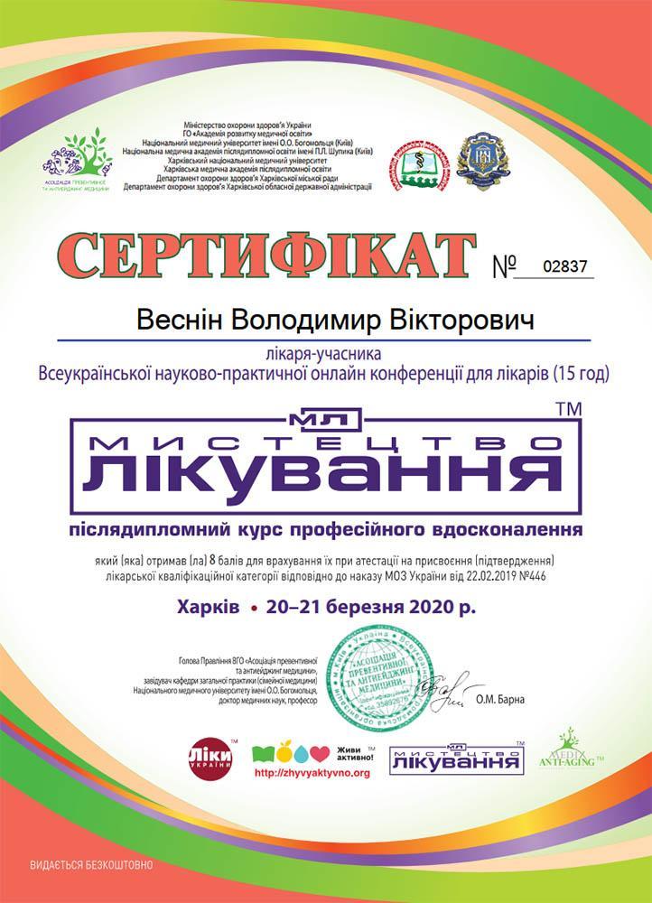Сертифікат лікаря-учасника конференції Мистецтво лікування