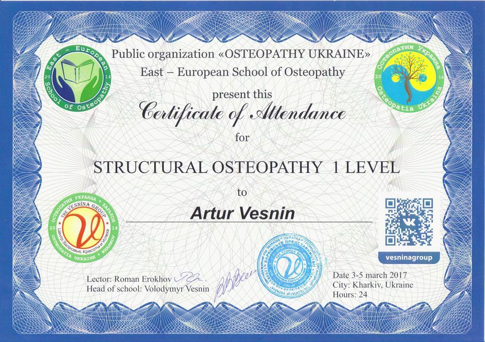 Сертификат Структуральная остеопатия 1 уровень