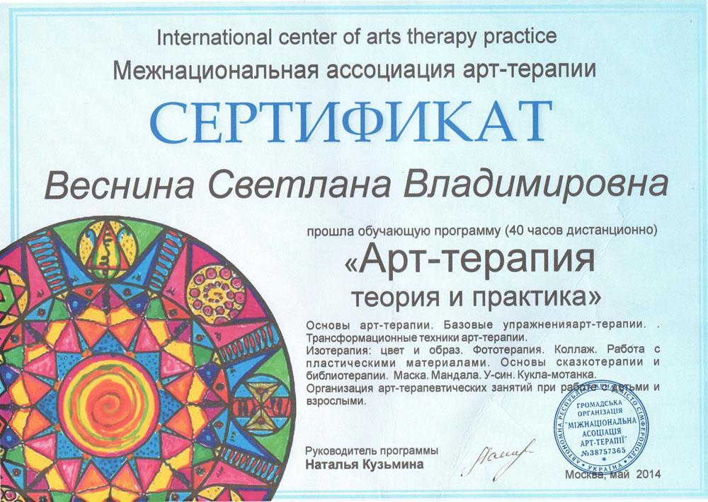 Сертификат Арт-терапия теория и практика