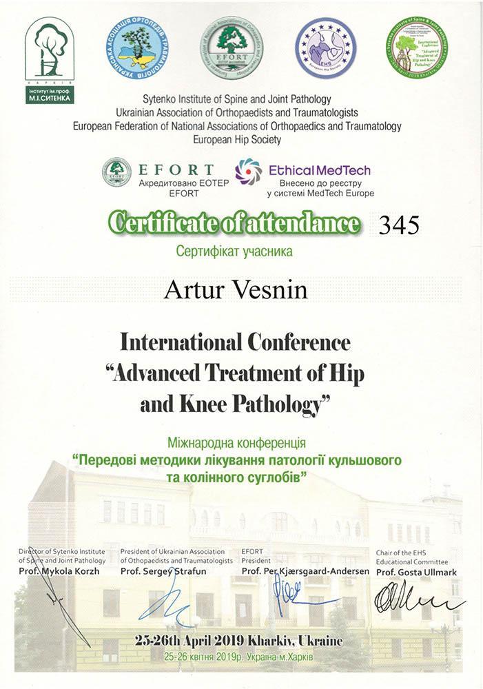 Сертификат Современные методы лечение патологии тазобедренного и коленного суставов