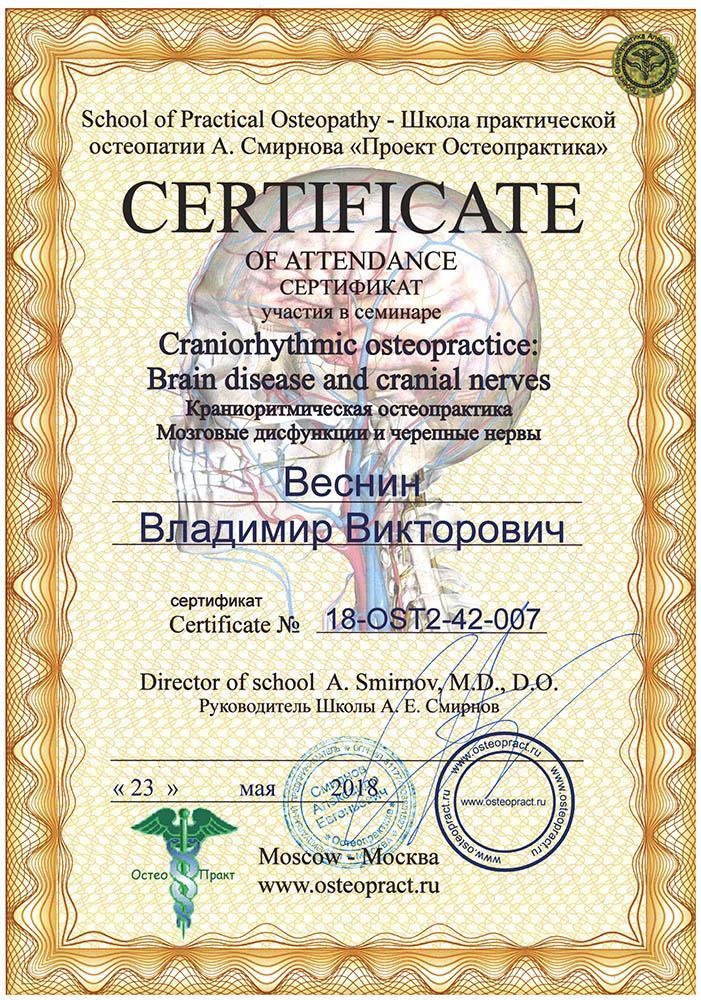 Сертификат Краниоритмическая остеопрактика, мозговые дисфункции и черепные нервы