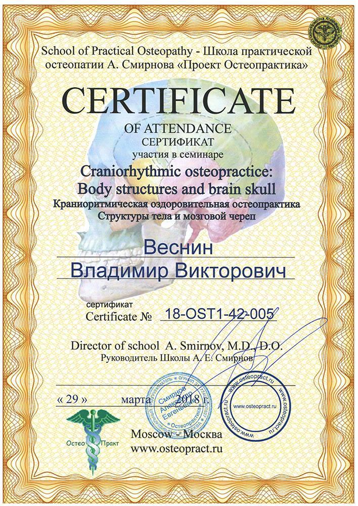 Сертификат Краниоритмическая оздоровительная остеопрактика, структуры тела и мозговой череп